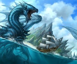 dragon, blue, and ship image