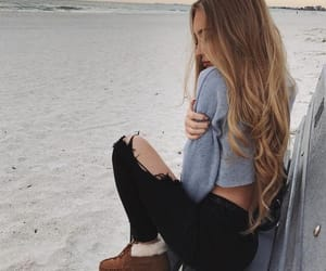 hair, beach, and beauty image