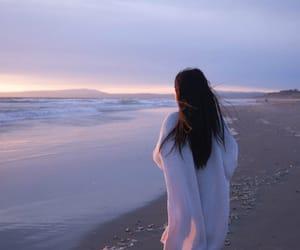 girl, beach, and sea image