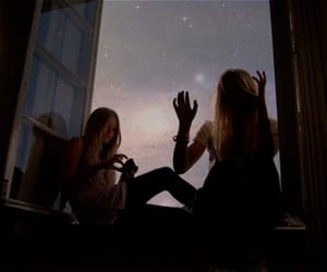 girl, friends, and stars image