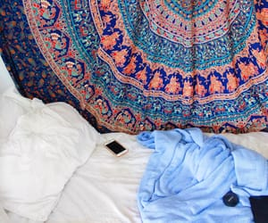 bedroom, blanket, and mandala image