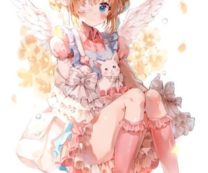angel, cat, and girl image