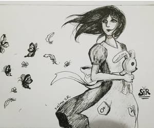 alice, drawing, and ink image