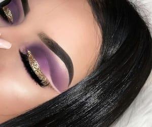 makeup, glitter, and purple image