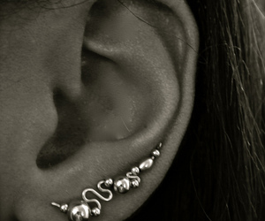 black and white, ear, and earring image
