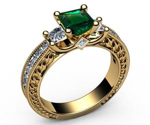 gold ring, unique engagement ring, and emerald ring image
