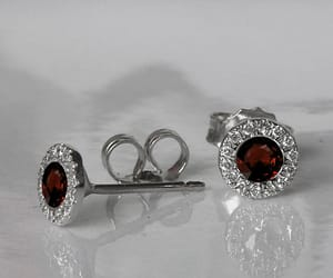 birthday gift, ruby studs, and halo earrings image