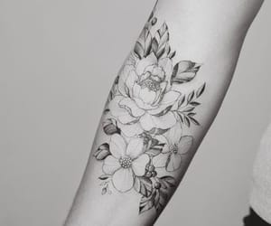 floral, flower, and ink image