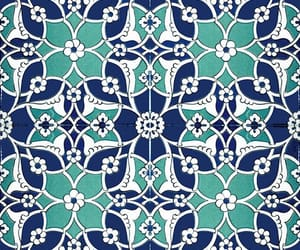 blue and white, geometric, and mosaic image