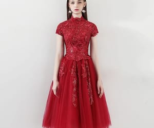 girl, red dress, and tulle image