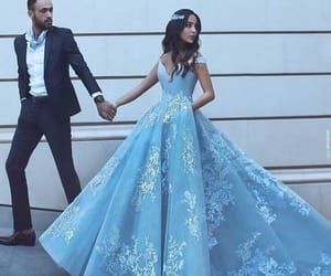 couple, dress, and blue image