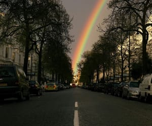 rainbow, street, and city image