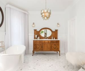 interior decorating, interior design, and white bathtub image