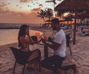 Relationship, beach, and couple image