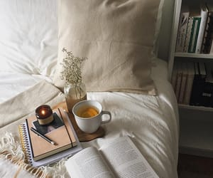book, interior, and tea image