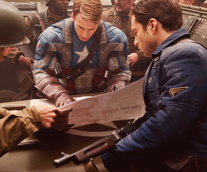 captain america, chris evans, and bucky barnes image