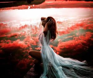 white lace dress, redhead dock lake, and sunset sunrise light image