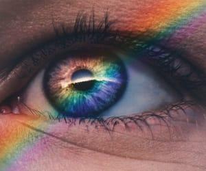rainbow, eye, and girl image