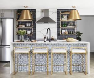 black, blue, and kitchen image