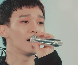 baekhyun, black, and Chen image