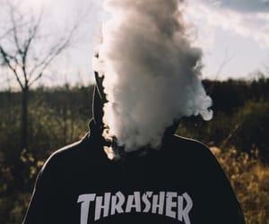 thrasher, boy, and smoke image
