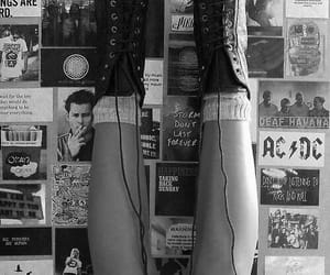 grunge, black and white, and boots image