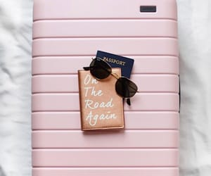 travel, pink, and passport image