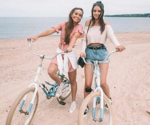 fashion, beach, and bike image