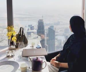 black, hijab, and landscape image