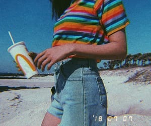 girl, clothes, and rainbow image