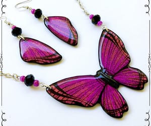 pendant, pink orange, and wing earrings image