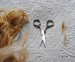 scissors, hair, and hair cut image