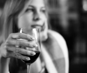 black and white, drink, and evening image
