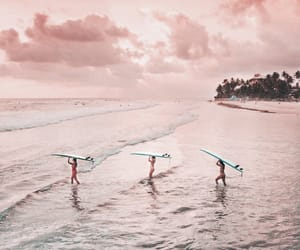 beach, ocean, and surfing image