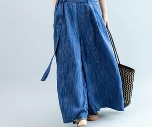 blue pants, long pants, and wide leg pants image