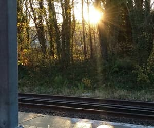 morning, sun, and train station image