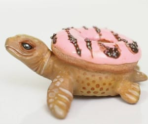 donut, miniature, and pink image