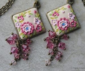 flowers, necklace, and pendant image