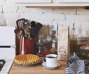 coffee, kitchen, and waffle image