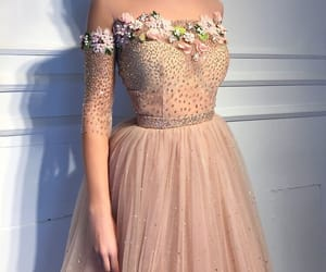 dress, flowers, and Prom image