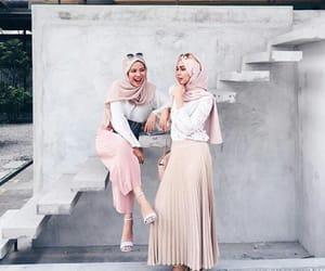 hijab, fashion, and pink image