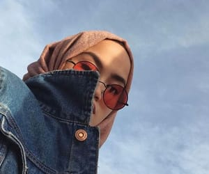 girl, hijab, and sky image
