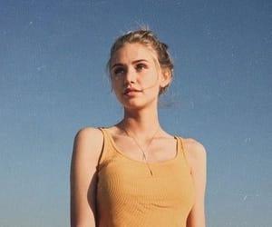 girl, sky, and yellow image