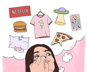 girl, wallpaper, and pizza image
