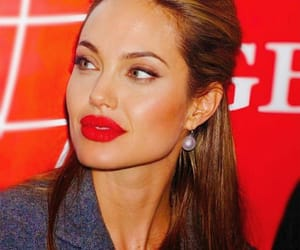 Angelina Jolie, red lips, and redish image