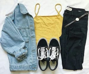 yellow, outfit, and vans image