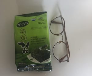 glasses, seaweed, and korean snacks image