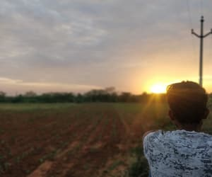 evening, field, and human image