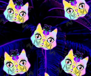 background, neon, and cats image
