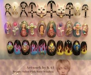 acrylic nails, nail design, and odd nails image